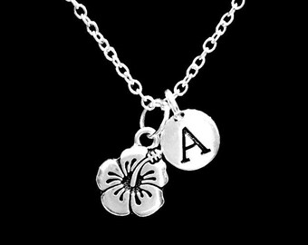 Initial Necklace, Gift For Her, Hibiscus Flower Necklace, Gardener Gift, Nature Necklace, Daughter Niece Gift Necklace