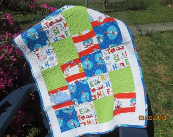 Dr Seuss Baby or Child's Quilt, Baby shower gift, Birthday gift