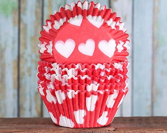 Red Heart Cupcake Liners, Red Cupcake Liners, Valentine's Day Cupcake Liners, Red Baking Cups, Red Cupcake Cases, Cupcake Wrappers (50)