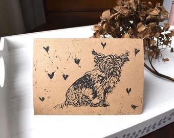 Hand printed linocut terrier Archie card