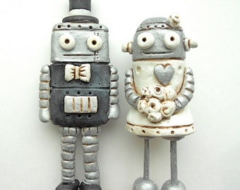 Wedding Cake Topper Black and White Robots in Love