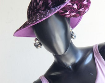 """Stunning Jack McConnell  """"Red Feather""""  Purple Lavender Feather Hat  in bloom  .  A work of Art!  US One Size"""