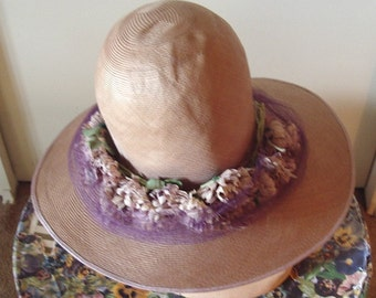 "Original Model ""A"" Era 1928/1931 Flower Trim Brimmed Straw Cloche  Item #142  Hats"
