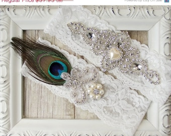 Wedding garter, Peacock Garter, Vintage Customizable Garter Set, Rhinestones and Pearls, Crystal Garter Set, Peacock, Prom, Prom Garter