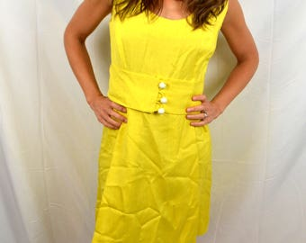Vintage 1960s 60s Bright Gogo Mod Yellow 70s Cute Linen Dress - I Magnin