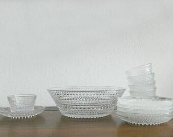 Nuutajärvi Finland Kastehelmi Desert Bowl Set by Oiva Toikka