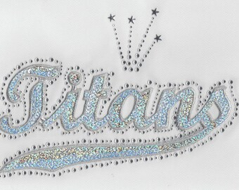CLOSEOUT SALE Titans Sequins and Rhinestone Iron-On Transfer Applique ONLY
