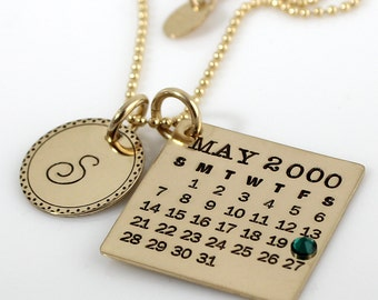 Personalized Calendar Necklace - hand stamped Mark Your Calendar gold filled necklace with Fancy Bordered Initial Charm and Crystal