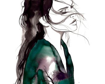 Transfuse II, print from original watercolor and mixed media fashion illustration by Jessica Durrant