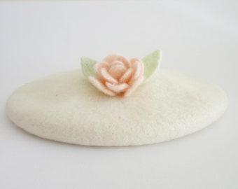 Ivory white wool beret with needle felted rose