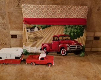 Small Zippered Bag with Chevrolet Trucks  Print