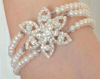 Doritis - Victorian Inspired Freshwater Pearl and Rhinestone Bracelet