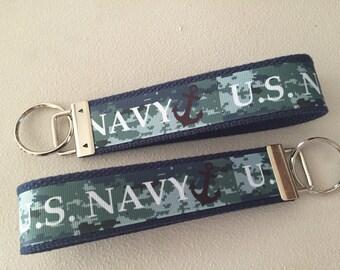 Navy Wristlet Keychain/Key Fob