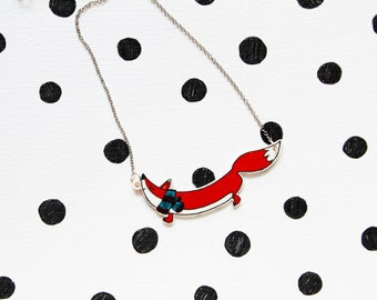 Fox with scarf - necklace