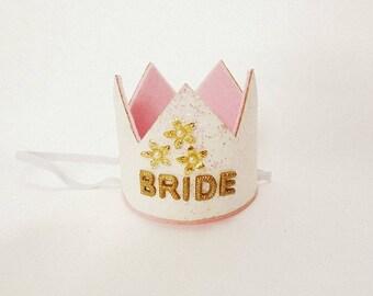 Bride Crown,Bachelorette Party Bride Crown,Bridal Shower Crown, Glitter Crown, Bride Gold Crown,Bachelorette Crown,Bachelorette Party Crown