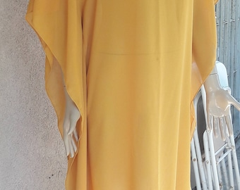 Yellow beach cover up, Beach sarong, mustard beach cover up, swim cover up, beach dress, beach pareo dress, chiffon pareo, yellow  sarong