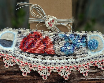 Red rose blue flowers - crochet tapestry with beads cuff