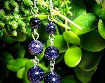 Goldstone Blue Crystal Gemstone 3 Wishes Earrings Navy Galaxy Glitter Sparkles Unusual Unique Something Different Irish Earrings Ireland