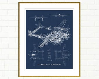 "P38 Lightning blueprint, Airplane blueprint, P38 Lightning, Printable Art, Airplane, Blueprint Art, Aviation Art, 8x10"", 11x14"", 16x20"""