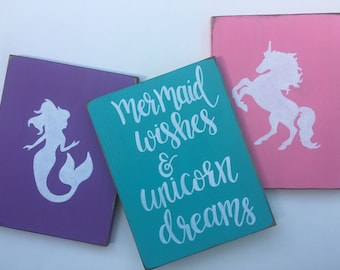 Mermaid Decor, Mermaid Wishes And Unicorn Dreams, Mermaid Bedroom Decor,  Unicorn Bedroom Decor