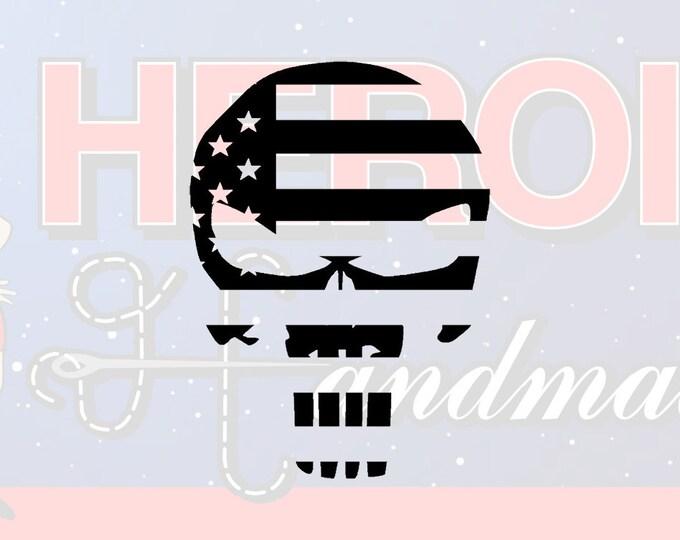 "4""+ Punisher USA Skull Adhesive Vinyl Decal"