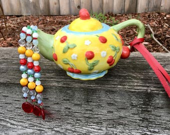 Yellow Ceramic Tea Pot Mobile, Red Cherry Tea Pot, Repurposed Tea Pot Wind Chime, Upcycled Garden Art, Tea Party Decoration, Kitchen Decor