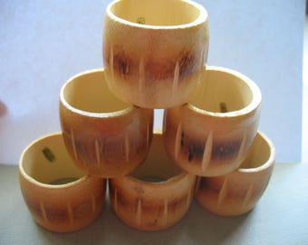 Napkin Rings Set of 6 Napkin Rings Wood Bamboo Made in Taiwan