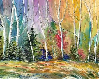 IMPRESSION de bouleaux arbre peinture aquarelle paysage d'automne jet d'encre