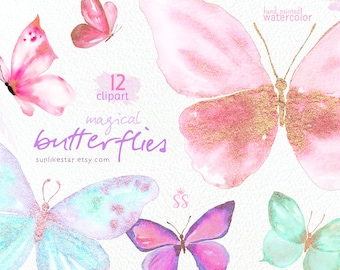 Magical Glitter Butterflies Clipart: Watercolor digital butterfly clip art fairy tale clipart magical spring clipart butterfly graphics -045