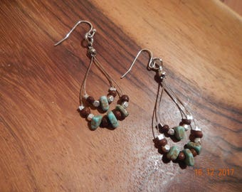 Turquoise/Wooden/Silver-tone Beaded Wire Earrings