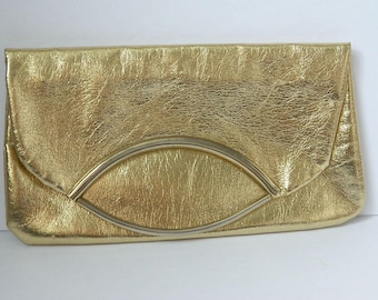Vintage 1960s Gold Fold over Clutch Styled by Artel in Montreal and Made in Italy