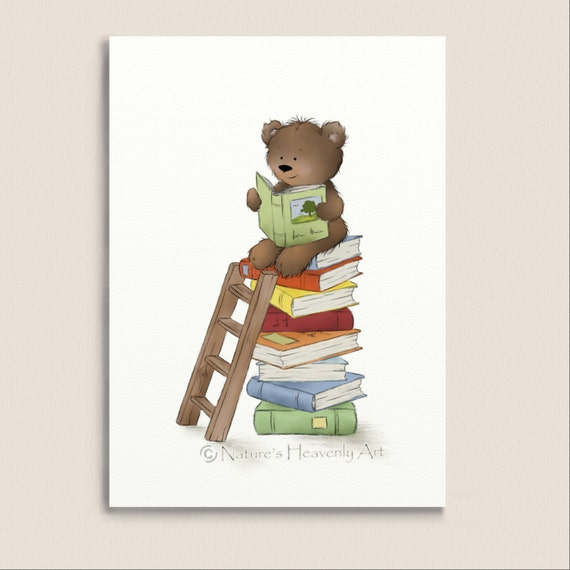 Book Cover Nursery Art : Brown teddy bear reading books nursery wall art print