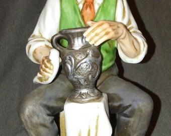 Vintage Old Man Polishing Silver Vase 79621 Bisque PCCI Figurine