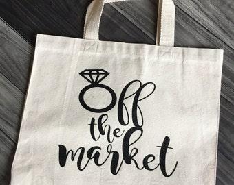 Engaged Bag, Engagement Tote, Wedding Tote, Wedding Bag, Engagement Gift, Engagement Gift, Wedding Gift, Bridal Shower