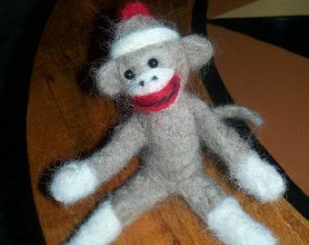 Needle Felted Sock Monkey