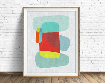 "mid century modern art, mid century modern wall art, large art, printable art, instant download, large wall art, abstract art - ""Pods No. 9"""
