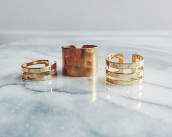 Gold Adjustable Ring Trio  - Adjustable Rings, Stacking Rings, Gold Rings, Midi Ring, Knuckle Ring, Stacking Ring Set