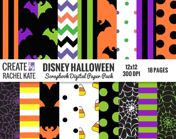 Disney Halloween Inspired Digital Scrapbook Paper Pack Papers