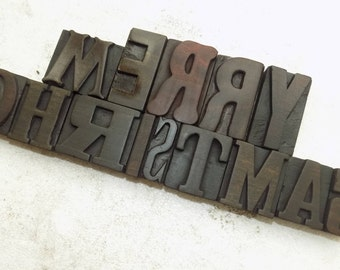 14 Vintage Letterpress Wood Type Block Merry Christmas Mixed size and mix founts Size from 50 m.m. To 65 m.m #be-159