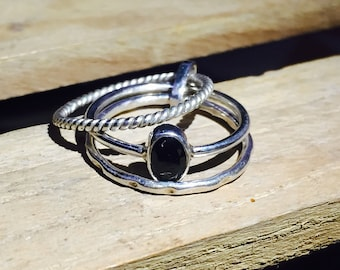 Natural Black Onyx Ring - 925 Sterling Silver Gemstone Ring - Wedding Ring - Handmade Stacking Ring - Gift for Her