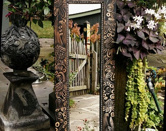 Mirror, hand carved mirror, wall mirror