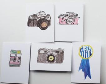Set of 5 Greeting cards - Watercolor Illustrations, blank cards, camera illustrations, Be You Tiful ribbon, Birthday Cards, thank you cards