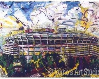Football Stadium, PittsburghSports Stadium,  Print by Pittsburgh artist Johno Prascak