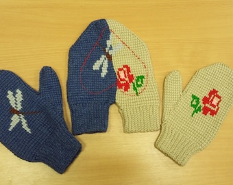 Hand knitted gloves for two-Gift for them-Warm-Soft-Set-Knit accessories-Gift for wedding anniversary