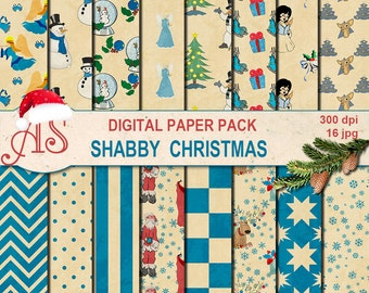 Digital Shabby Christmas Paper Pack, 16 printable Digital Scrapbooking papers, Digital Collage, retro new year, Instant Download, set 259