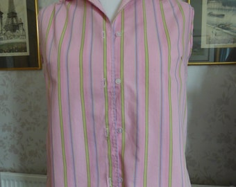 Sweet 70s cotton sleeveless summer pink stripe blouse B38 Medium