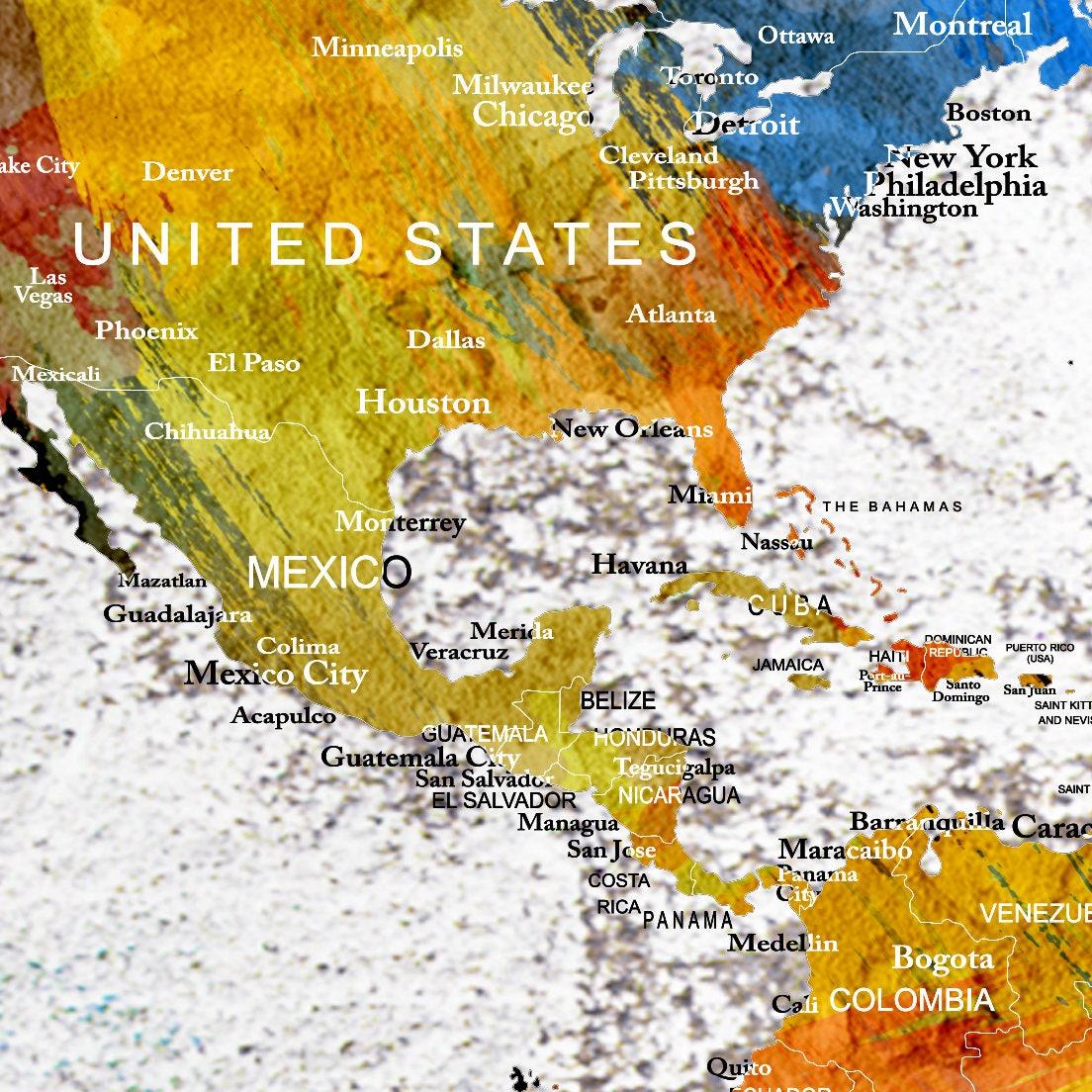 Large Wall Art Push Pin World Map, Push Pin, World Map, Wall Art ...