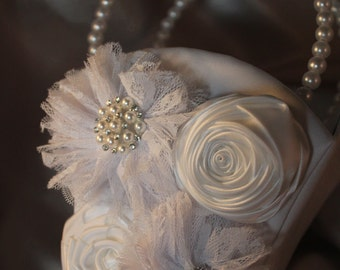 WHITE or IVORY Satin Flower Girl Basket with Lace and Satin Flowers- Rhinestones and Pearls-Custom Accent Colors Available