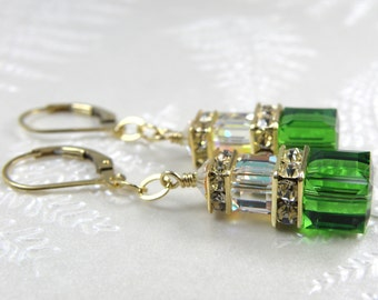 Light Emerald Earrings, Swarovski Crystal Cube, Gold Filled, Green Bridesmaid Earrings, Emerald Wedding Jewelry, Modern May Birthday Gift