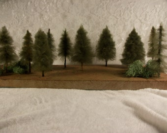 Pine Tree Set of 3, Christmas Trees, Holiday Village Pines, Nature Scene Display, Wool Trees, miniature Evergreens